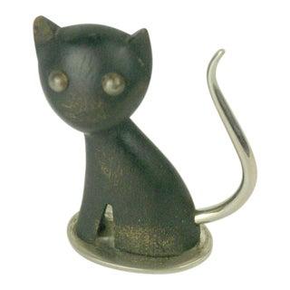 Austrian Modernist Small Hagenauer Wood Cat Sculpture