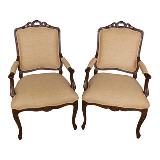 French Country Carved Wood Dining Arm Chairs- a Pair For Sale
