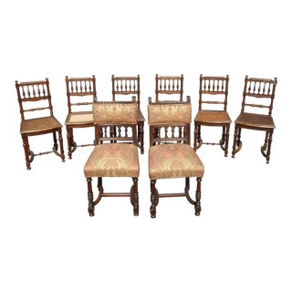 Spanish Style Dining Room Chairs - Set of 8 For Sale