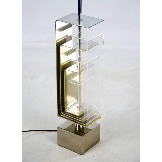 1970s Vintage Chrome and Lucite Table Lamp For Sale - Image 4 of 13