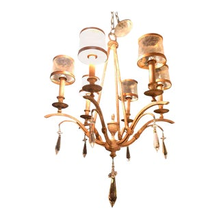 Italian Gilt Metal Six-Light Chandelier with Glass Frosted Shades