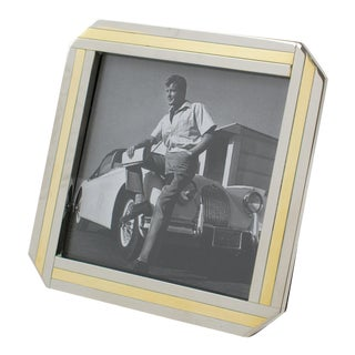 Italian 1970s Picture Frame Chrome Brass For Sale