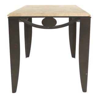 Wrought Iron Side Table With Travertine Top For Sale