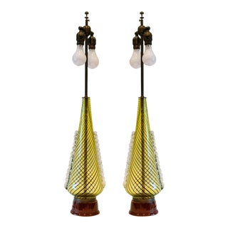 1950s Dino Martens (For Aureliano Toso) Murano Glass Table Lamps - a Pair For Sale