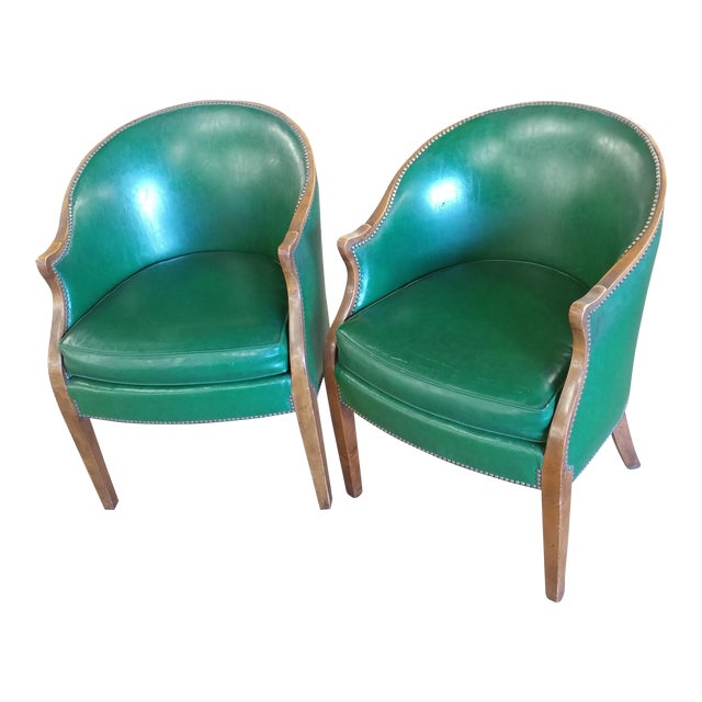Vintage Baker Furniture Green Leather Library Chairs - A Pair For Sale