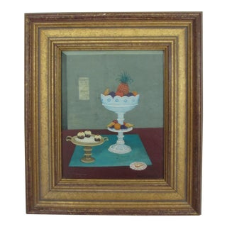 Framed Still Life of Fruit and Cupcakes For Sale