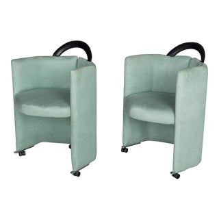 Memphis Style Aqua Upholstered Club Chairs - a Pair For Sale