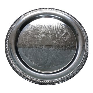 Silverplated Round Tray For Sale
