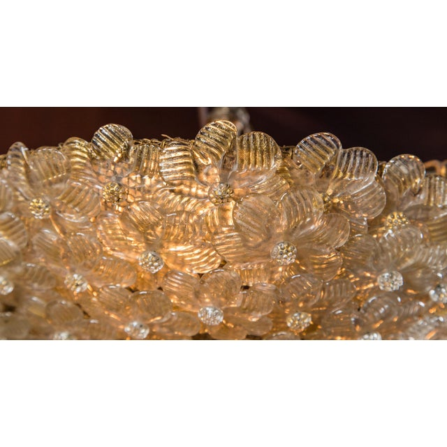 Italian Barovier & Toso Murano Glass Surface Mount Ceiling Chandelier/Light For Sale - Image 10 of 11