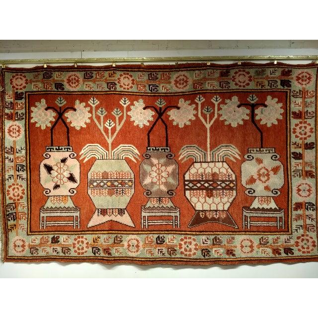 Vintage Khotan Vase Carpet - 5′ × 8′ For Sale - Image 12 of 13