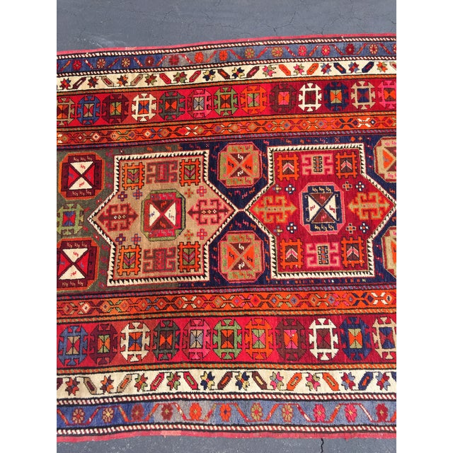 Blue Vintage Turkish Tribal Hand Knotted Runner - 3′10″ × 10′3″ For Sale - Image 8 of 11