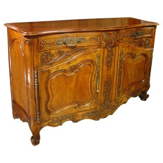 A Large 19th Century Walnut Wood Buffet From Provence, France For Sale