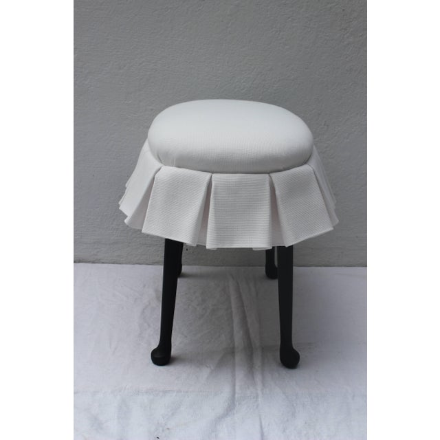Traditional Ebonized Oval Stool With Box Pleated Skirt For Sale - Image 3 of 8