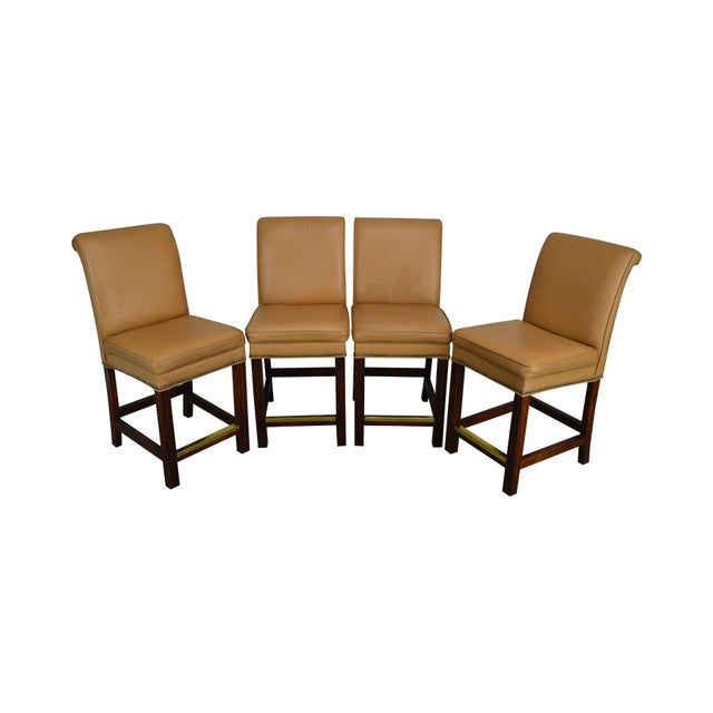 Fairfield Set 4 Tan Leather Bar Stools For Sale - Image 12 of 12