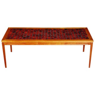 Danish Teak Coffee Table With Red Tile-Top, Circa 1960 For Sale