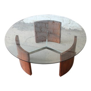 "Vladimir Kagan ""Radius"" Mid-Century Modern Walnut, Steel, and Glass Cocktail Table"