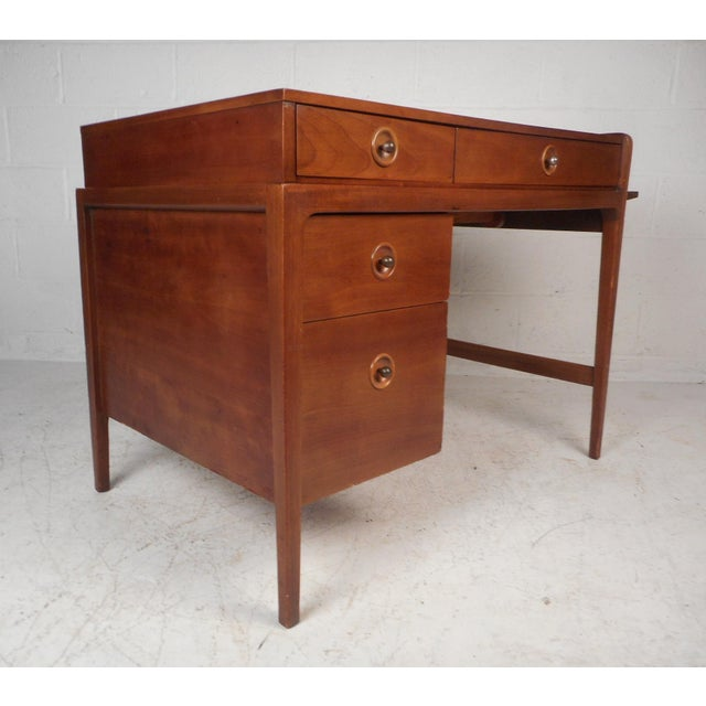 This gorgeous vintage modern desk features a side extension making the width go from 39.5 inches to 62 inches. Unusual...