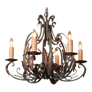 Early 20th Century French Six-Light Iron Chandelier With Verdigris Finish For Sale