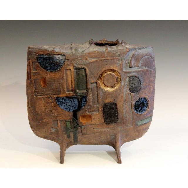 Extraordinary Studio Pottery Geometric Carved Vessel Vase Signed Large Sculpture For Sale In New York - Image 6 of 8