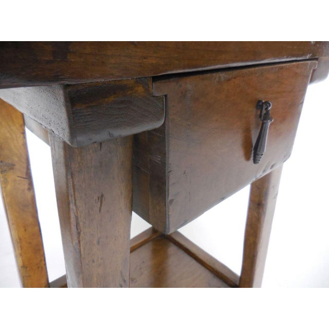 Pair of Custom Walnut Side Tables or Nightstands with Drawer and Shelf - Image 4 of 5