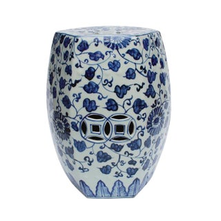 Blue & White Hex Porcelain Garden Stool Grape Vines For Sale