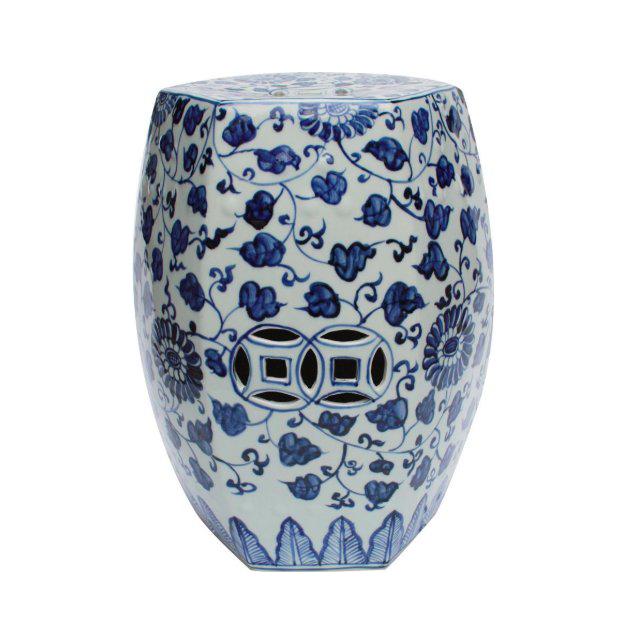 Blue U0026 White Hex Porcelain Garden Stool Grape Vines
