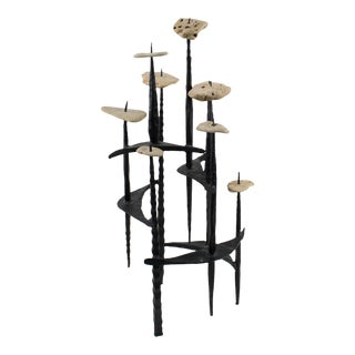 David Palombo Israel 1950s Brutalist Iron and Stones Sculpture Menorah For Sale