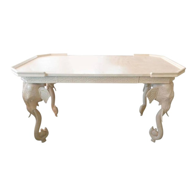 Hollywood Regency Vintage Gampel and Stoll White Lacquered Elephant Desk For Sale - Image 3 of 4