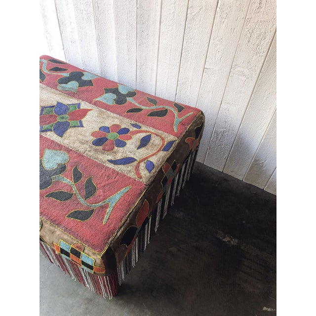 1930s Antique African Yoruba Beaded Ottoman/Coffee Table For Sale - Image 5 of 9