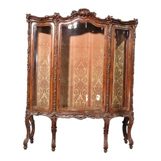 French Louis XV Style Carved Walnut Breakfront China Cabinet For Sale