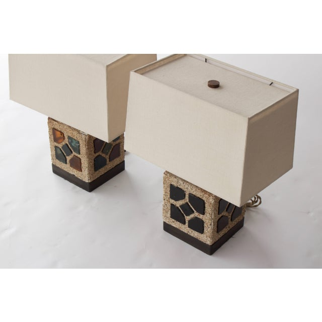 French 1950s Cement and Colored Glass Table Lamps For Sale - Image 10 of 11