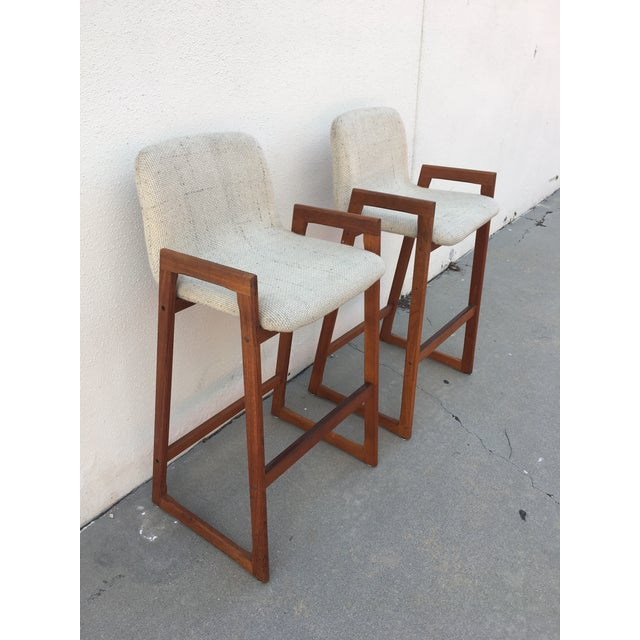Danish Modern Koefoed Mid-Century Bar Stools - A Pair For Sale - Image 3 of 7