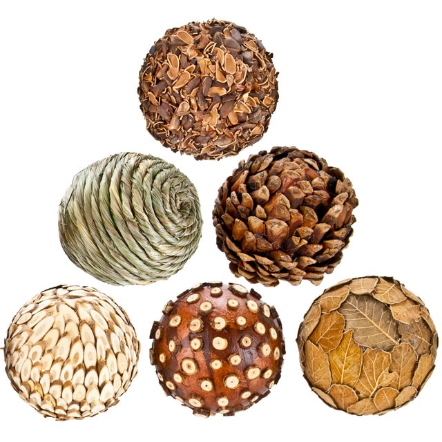 Natural Decorative Balls - Set of 6 - Image 2 of 2