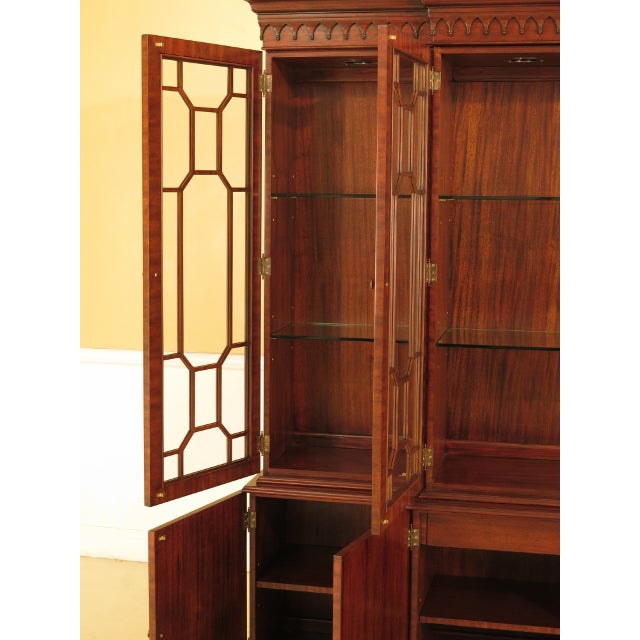1990s Maitland Smith Large Mahogany Breakfront Bookcase Cabinet For Sale - Image 5 of 13