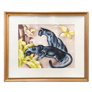Tropical Airbrush Watercolor Panther Painting, Signed Peters - 50th Anniversary Sale For Sale