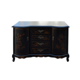 Chinese Black Vinyl Color Golden Scenery Credenza Cabinet Table
