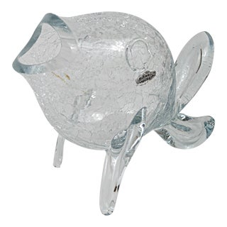 Vintage Blenko Clear Crackle Glass Fish For Sale