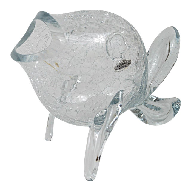 Vintage Blenko Clear Crackle Glass Fish Chairish