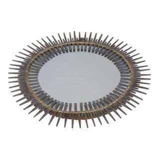 Handmade Mid-Century Modern Brutalist Sunburst Wall Mirror by Bela