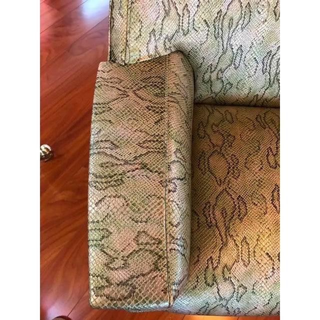 Italian Mid-Century Modern Club Chairs with Faux Snake Skin - A Pair For Sale - Image 4 of 9