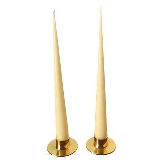 Brass Candlesticks & Ivory Tapered Candles For Sale