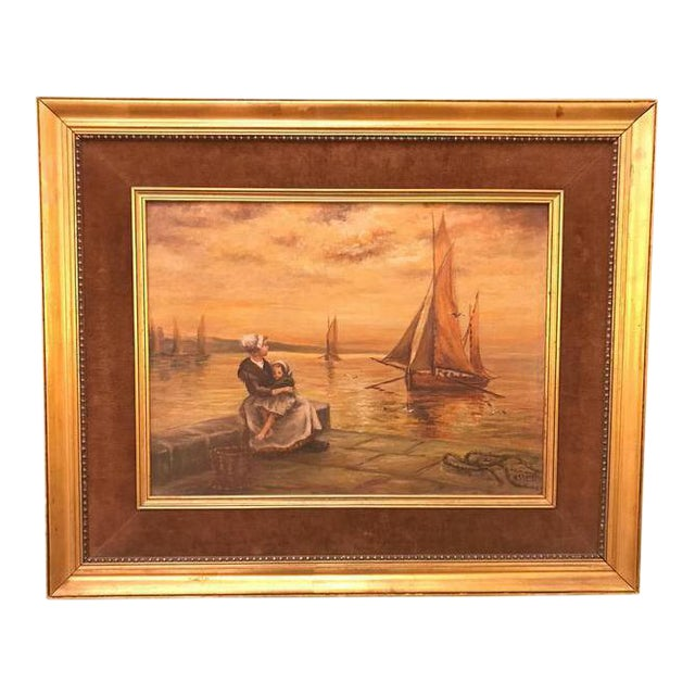 Woman & Child Sitting at the Pier Oil on Canvas For Sale