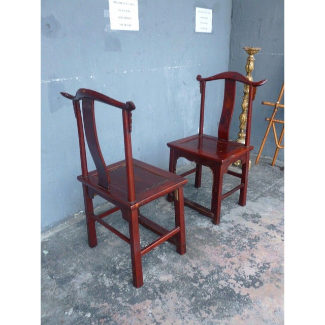 Pair of 19th Century Red Lacquer Ming Chairs For Sale - Image 4 of 13