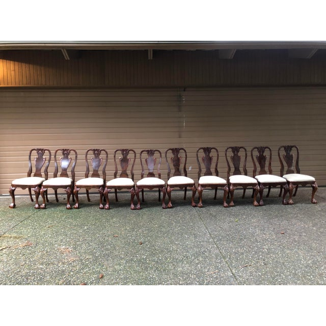 Early 20th Century Vintage Queen Anne Burl Walnut Dining Chairs - Set of 10 For Sale - Image 10 of 11