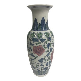 Chinoiserie Vase With Pink Flowers For Sale