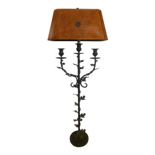Late 20th Century Maitland Smith Wrought Iron Verdigris Floor Lamp For Sale