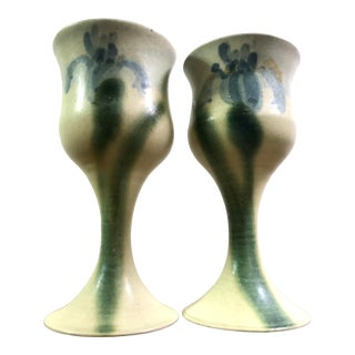 Vintage Pair of Studio Pottery Ceramic Wine Chalices With Iris Design For Sale