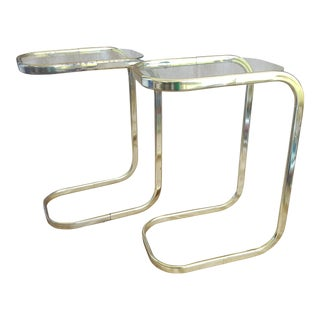 Milo Baughman Style Brass Cantilever Glass Side Tables - a Pair