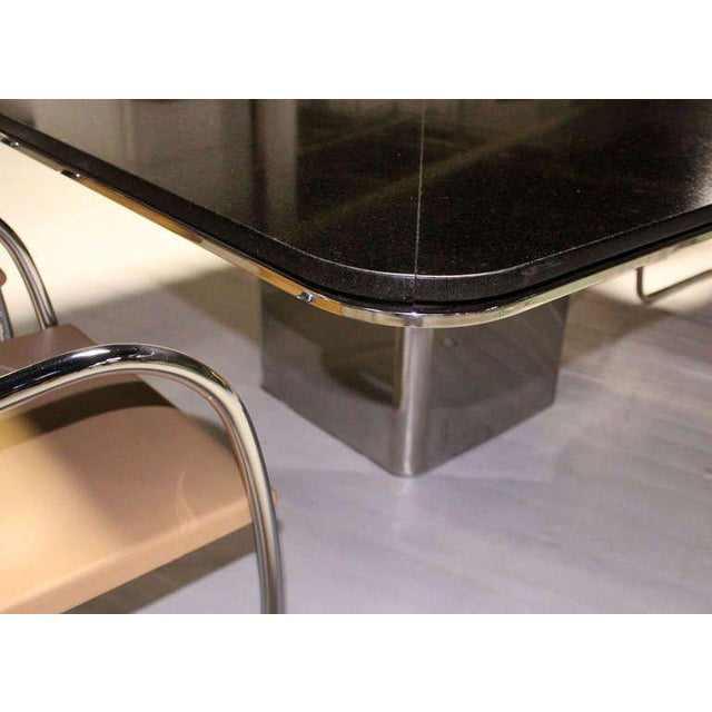 Mid-Century Modern 1970s Mid-Century Modern Brueton Square Granite Top and Stainless Base Dining Table For Sale - Image 3 of 10