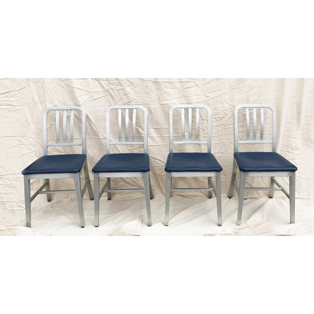 Vintage GoodForm Aluminum Chairs With Navy Leather For Sale In Chicago - Image 6 of 8